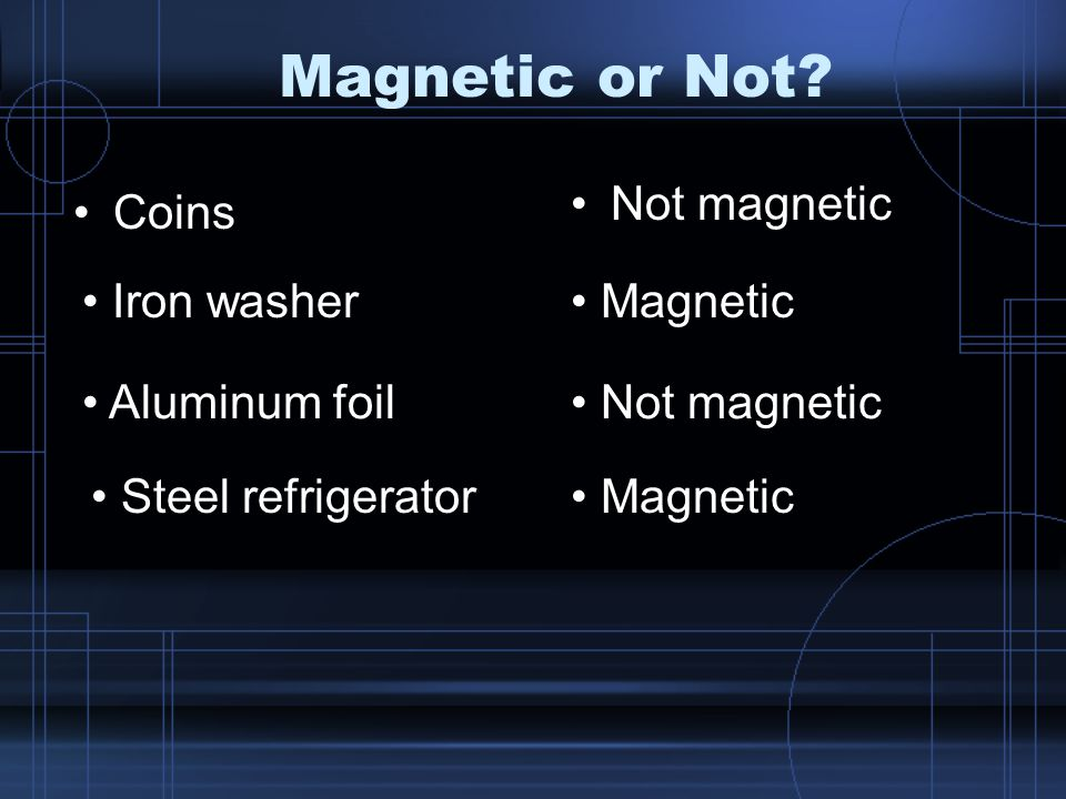 Magnetic or Not? Coins Iron washer Aluminum foil Not magnetic Magnetic Not magnetic Steel refrigerator Magnetic