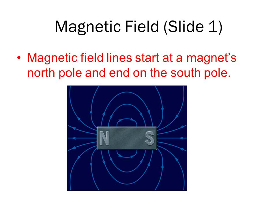 Magnetic Field (Slide 1) Magnetic field lines start at a magnet's north pole and end on the south pole.