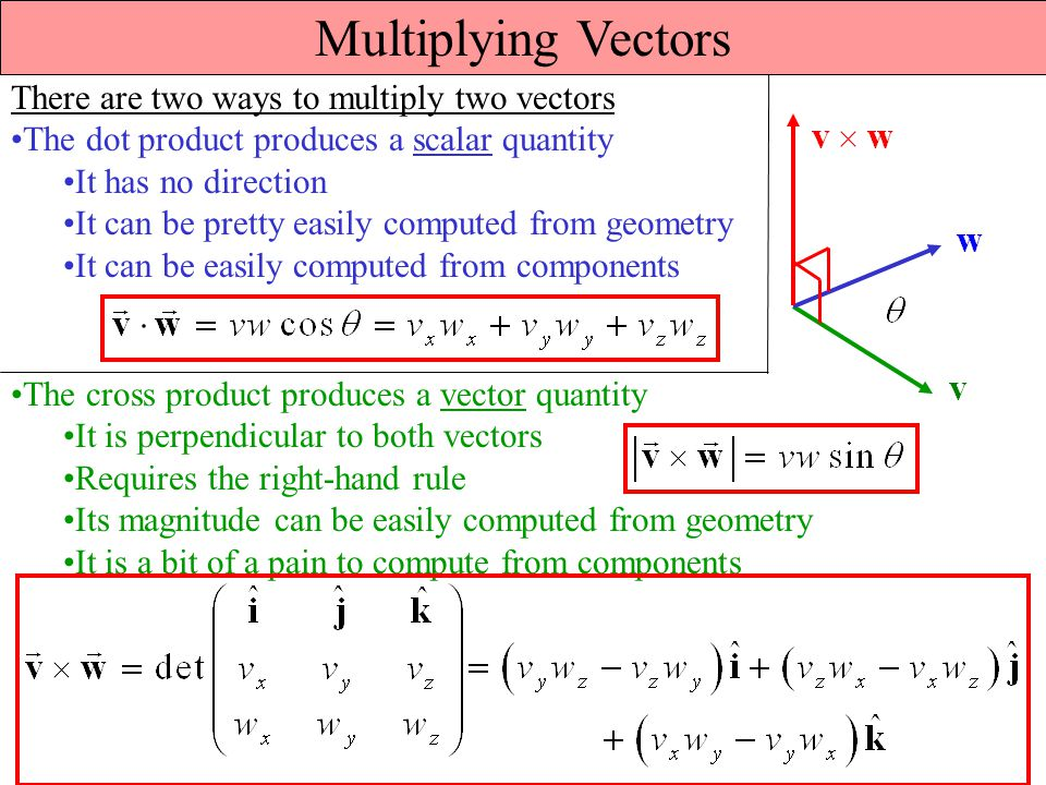 Multiplying Vectors There are two ways to multiply two vectors The dot product produces a scalar quantity It has no direction It can be pretty easily computed from geometry It can be easily computed from components The cross product produces a vector quantity It is perpendicular to both vectors Requires the right-hand rule Its magnitude can be easily computed from geometry It is a bit of a pain to compute from components