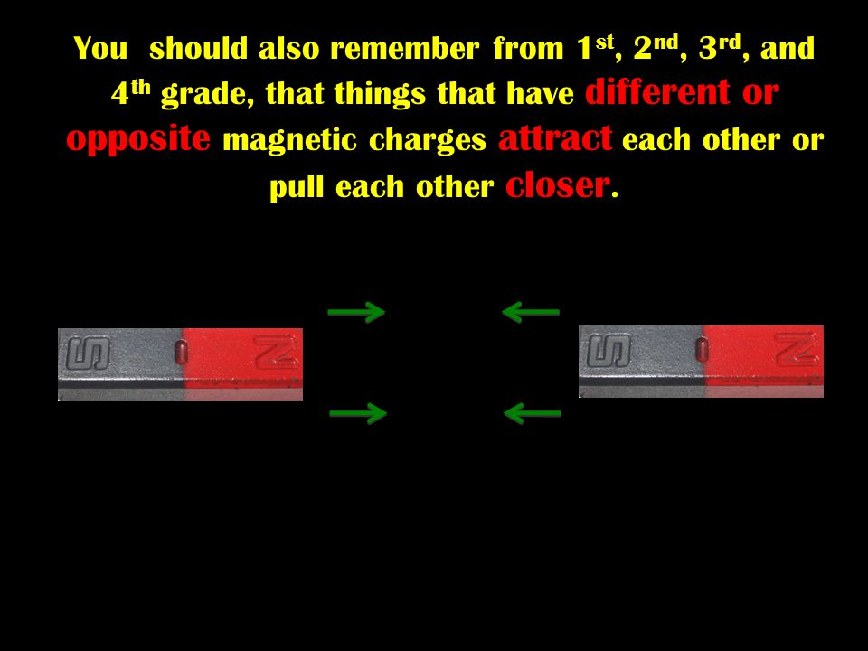 You should also remember from 1 st, 2 nd, 3 rd, and 4 th grade, that things that have different or opposite magnetic charges attract each other or pul