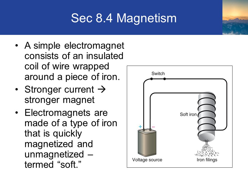 Sec 8.4 Magnetism A simple electromagnet consists of an insulated coil of wire wrapped around a piece of iron. Stronger current  stronger magnet Elec