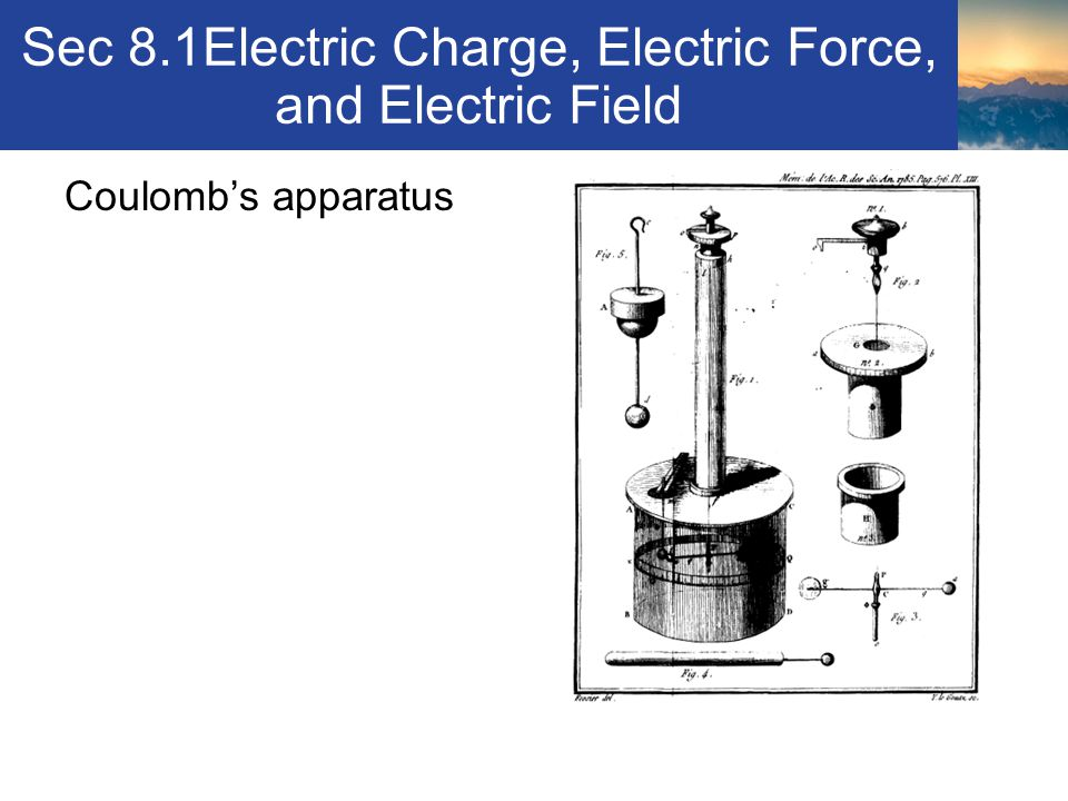 Sec 8.1Electric Charge, Electric Force, and Electric Field Comparison between Coulomb's Law and Newton's Law of Universal Gravitation Equations look similar – F = kq 1 q 2 / r 2 & F = Gm 1 m 2 / r 2 Both depend on r 2 Coulomb's law can describe either an attractive or repulsive force – gravity is always positive Electrical charges are much stronger than gravitational forces Section 8.1