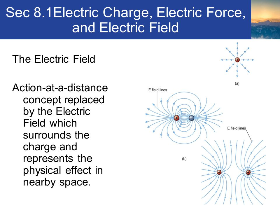 Sec 8.1Electric Charge, Electric Force, and Electric Field The Electric Field Action-at-a-distance concept replaced by the Electric Field which surrou