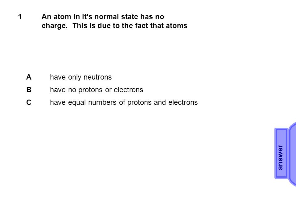 1An atom in it s normal state has no charge.