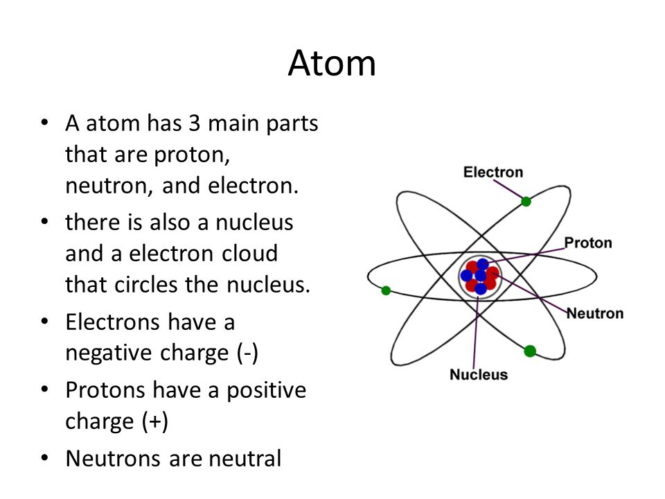 Atom A atom has 3 main parts that are proton, neutron, and electron.