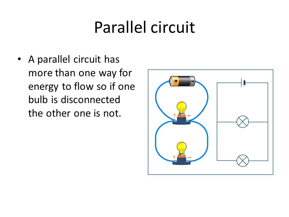 Parallel circuit A parallel circuit has more than one way for energy to flow so if one bulb is disconnected the other one is not.