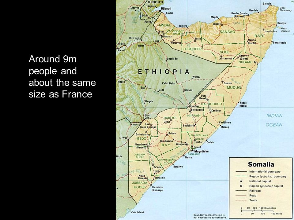 Around 9m people and about the same size as France