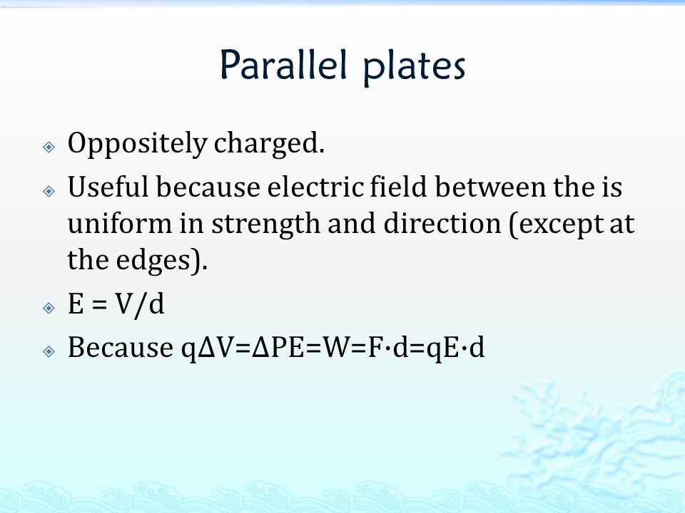 Parallel plates  Oppositely charged.