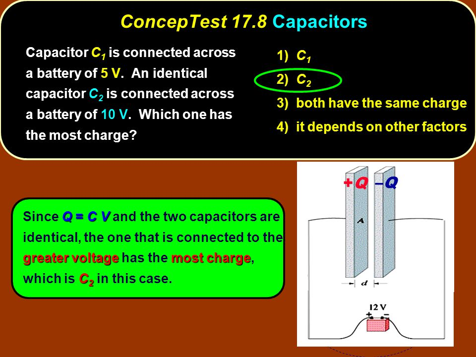 Q = C V greater voltagemost charge C 2 Since Q = C V and the two capacitors are identical, the one that is connected to the greater voltage has the most charge, which is C 2 in this case.