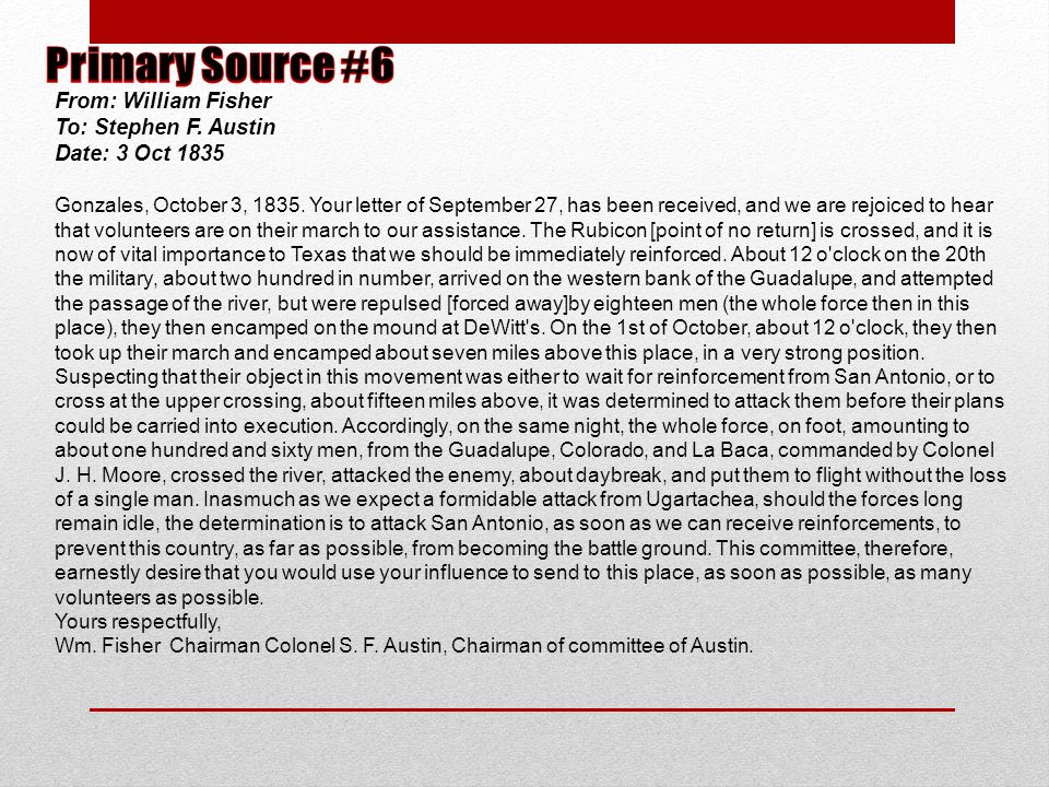 From: William Fisher To: Stephen F. Austin Date: 3 Oct 1835 Gonzales, October 3, 1835. Your letter of September 27, has been received, and we are rejo