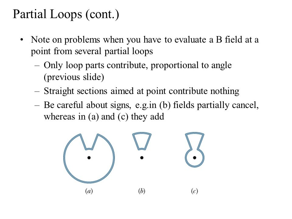 Partial Loops (cont.) Note on problems when you have to evaluate a B field at a point from several partial loops –Only loop parts contribute, proportional to angle (previous slide) –Straight sections aimed at point contribute nothing –Be careful about signs, e.g.in (b) fields partially cancel, whereas in (a) and (c) they add