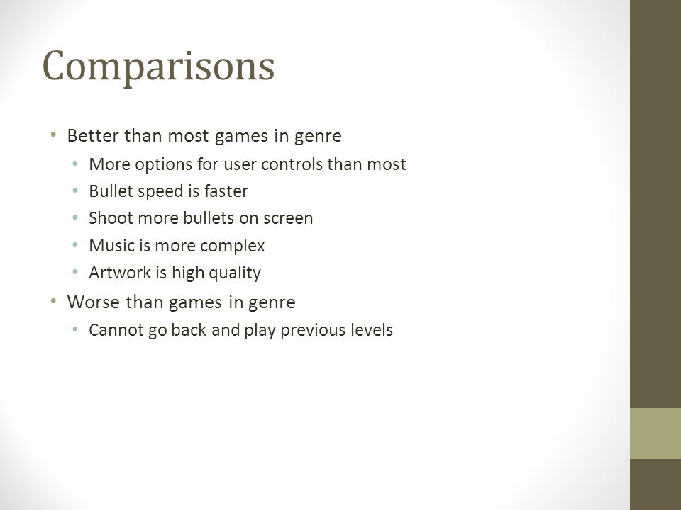 Comparisons Better than most games in genre More options for user controls than most Bullet speed is faster Shoot more bullets on screen Music is more complex Artwork is high quality Worse than games in genre Cannot go back and play previous levels