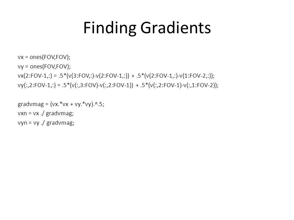 Finding Gradients vx = ones(FOV,FOV); vy = ones(FOV,FOV); vx(2:FOV-1,:) =.5*(v(3:FOV,:)-v(2:FOV-1,:)) +.5*(v(2:FOV-1,:)-v(1:FOV-2,:)); vy(:,2:FOV-1,:) =.5*(v(:,3:FOV)-v(:,2:FOV-1)) +.5*(v(:,2:FOV-1)-v(:,1:FOV-2)); gradvmag = (vx.*vx + vy.*vy).^.5; vxn = vx./ gradvmag; vyn = vy./ gradvmag;