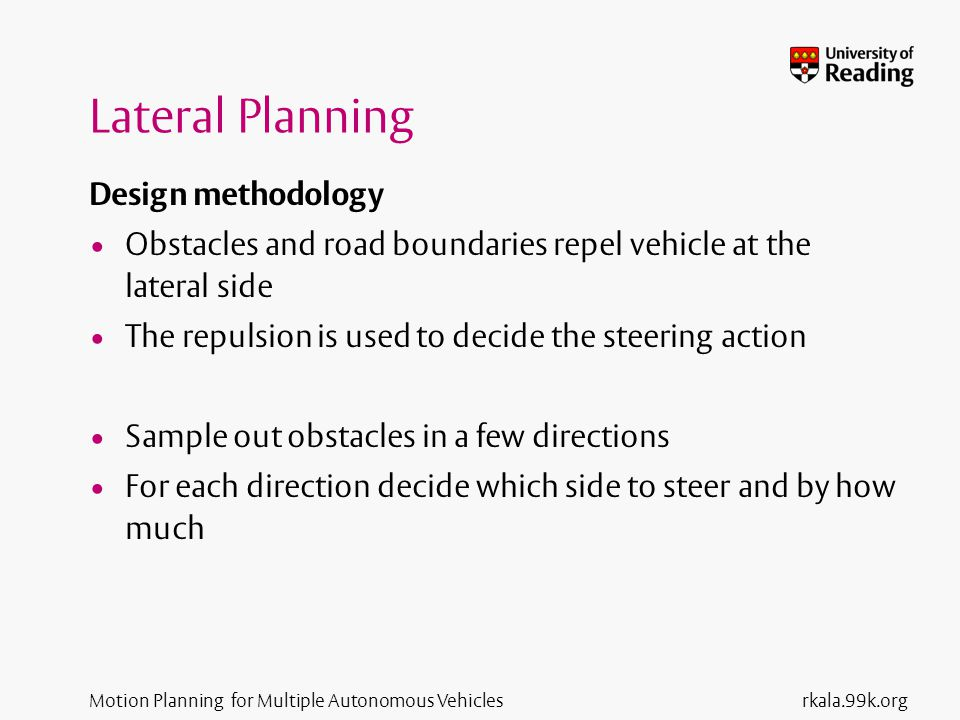 Motion Planning for Multiple Autonomous Vehicles Lateral Potential Sources rkala.99k.org Forward Side Back Diagonal