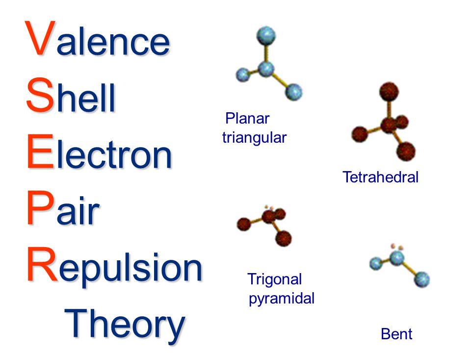 V alence S hell E lectron P air R epulsion Theory Planar triangular Tetrahedral Trigonal pyramidal Bent