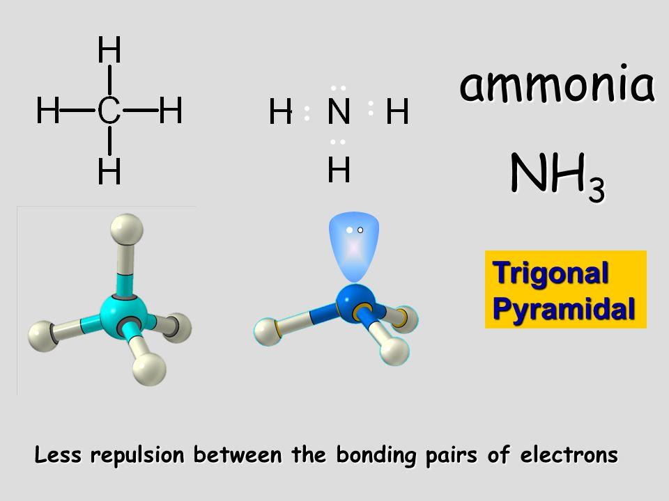 Less repulsion between the bonding pairs of electrons.. ammonia NH 3.. Trigonal Pyramidal