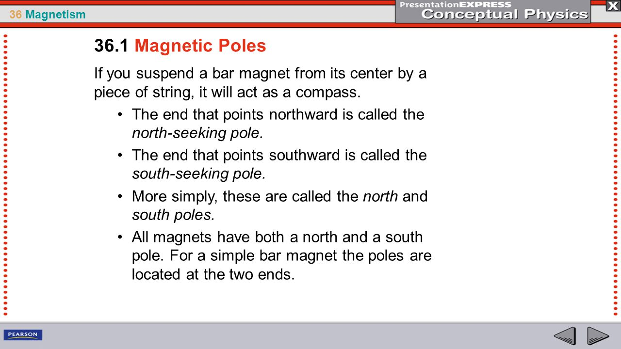 36 Magnetism Just as a current-carrying wire will deflect a magnetic compass, a magnet will deflect a current-carrying wire.