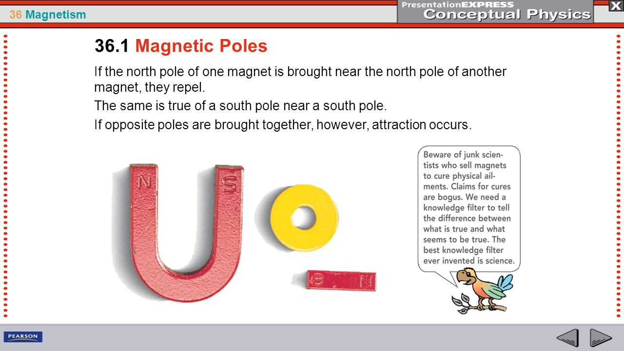 36 Magnetism A magnetic field is produced by the motion of electric charge.