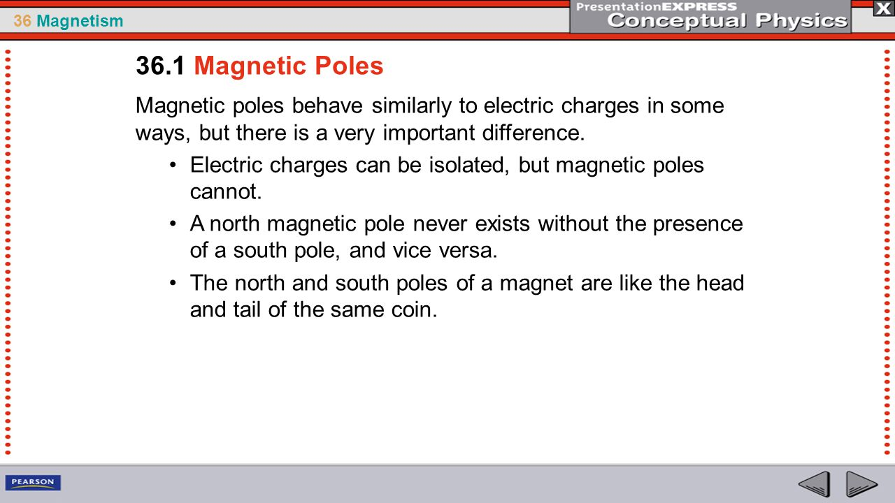 36 Magnetism If you break a bar magnet in half, each half still behaves as a complete magnet.