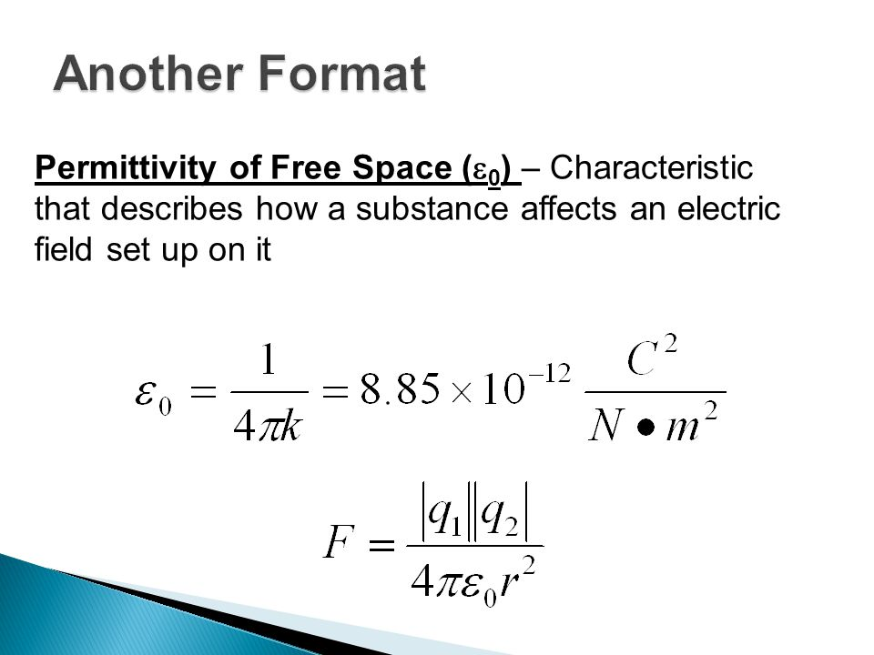 Permittivity of Free Space (  0 ) – Characteristic that describes how a substance affects an electric field set up on it