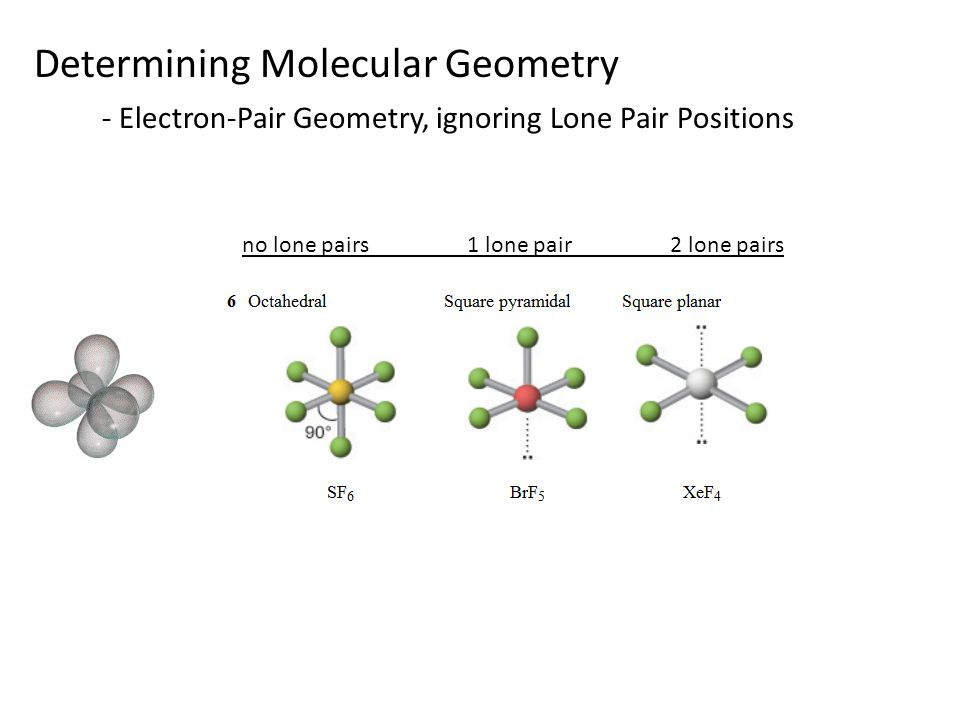 Determining Molecular Geometry - Electron-Pair Geometry, ignoring Lone Pair Positions no lone pairs 1 lone pair 2 lone pairs