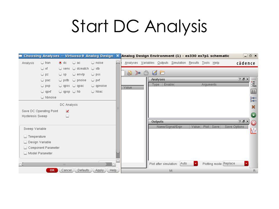 Start DC Analysis