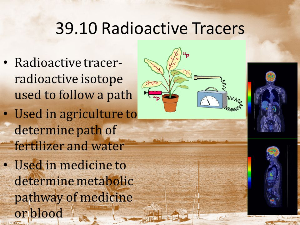 39.10 Radioactive Tracers Radioactive tracer- radioactive isotope used to follow a path Used in agriculture to determine path of fertilizer and water Used in medicine to determine metabolic pathway of medicine or blood
