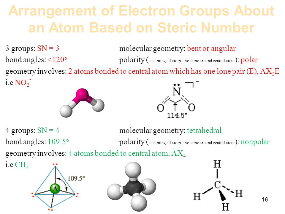 16 Arrangement of Electron Groups About an Atom Based on Steric Number 3 groups: SN = 3molecular geometry: bent or angular bond angles: <120 o polarit
