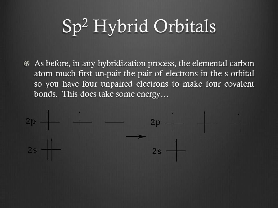 Sp 2 Hybrid Orbitals As before, in any hybridization process, the elemental carbon atom much first un-pair the pair of electrons in the s orbital so you have four unpaired electrons to make four covalent bonds.