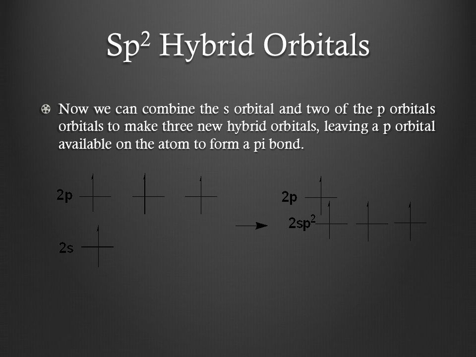 Sp 2 Hybrid Orbitals Now we can combine the s orbital and two of the p orbitals orbitals to make three new hybrid orbitals, leaving a p orbital available on the atom to form a pi bond.
