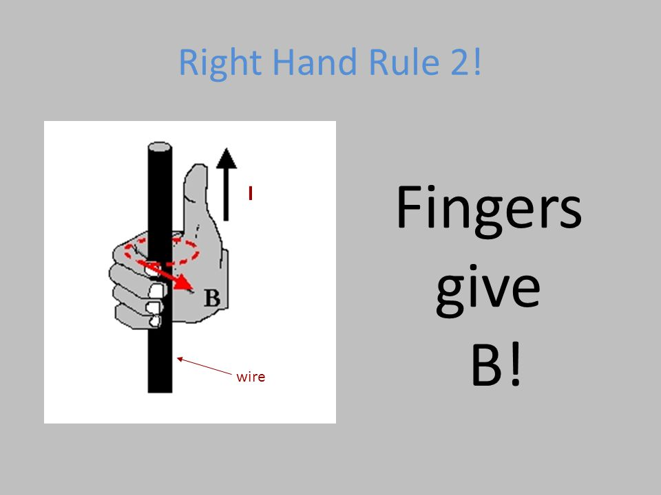 Right Hand Rule 2! wire I Fingers give B!
