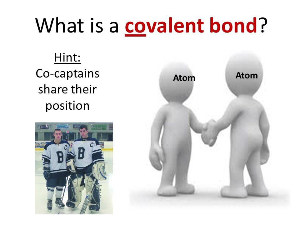 What is a covalent bond Hint: Co-captains share their position Atom
