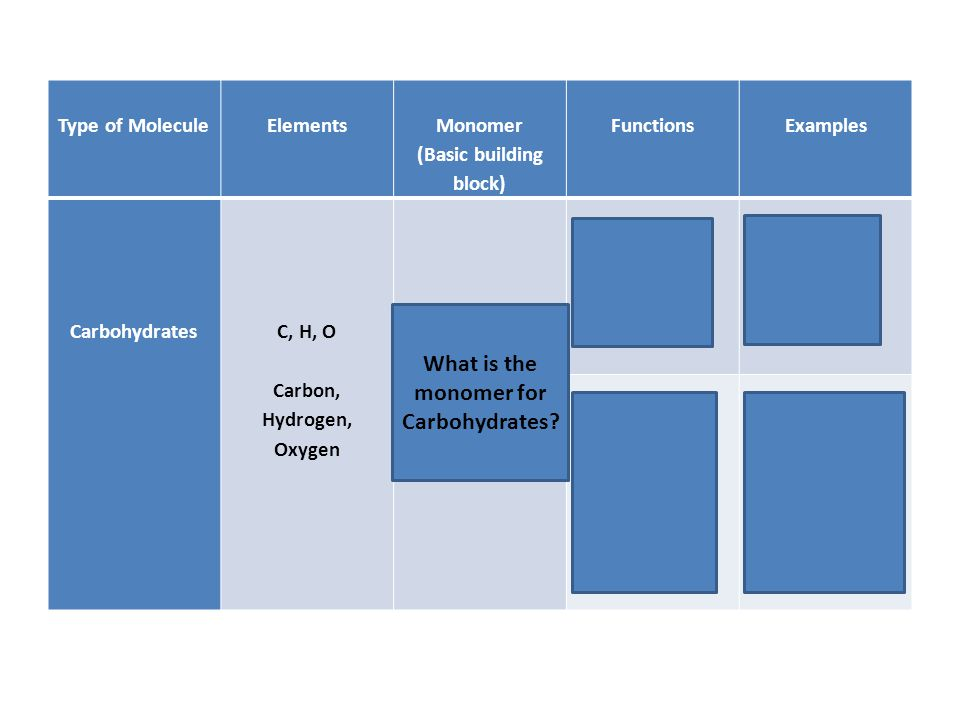Type of Molecule Elements Monomer (Basic building block) Functions Examples Carbohydrates C, H, O Carbon, Hydrogen, Oxygen Monosaccharide (sugar: C₆H₁₂O₆) Energy – Quick Plants = Starch Animals = Glycogen Structure and support Plants = Cellulose (fiber in cell walls) Animals = Chitin (exoskeletons) What is the monomer for Carbohydrates