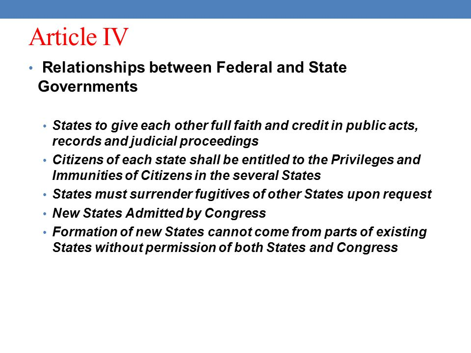 Article IV Relationships between Federal and State Governments States to give each other full faith and credit in public acts, records and judicial pr