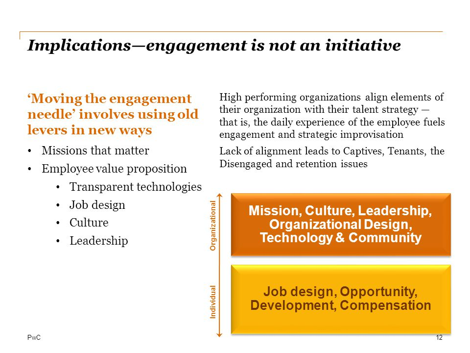 PwC Implications—engagement is not an initiative 'Moving the engagement needle' involves using old levers in new ways Missions that matter Employee value proposition Transparent technologies Job design Culture Leadership 12 Organizational Individual High performing organizations align elements of their organization with their talent strategy — that is, the daily experience of the employee fuels engagement and strategic improvisation Lack of alignment leads to Captives, Tenants, the Disengaged and retention issues