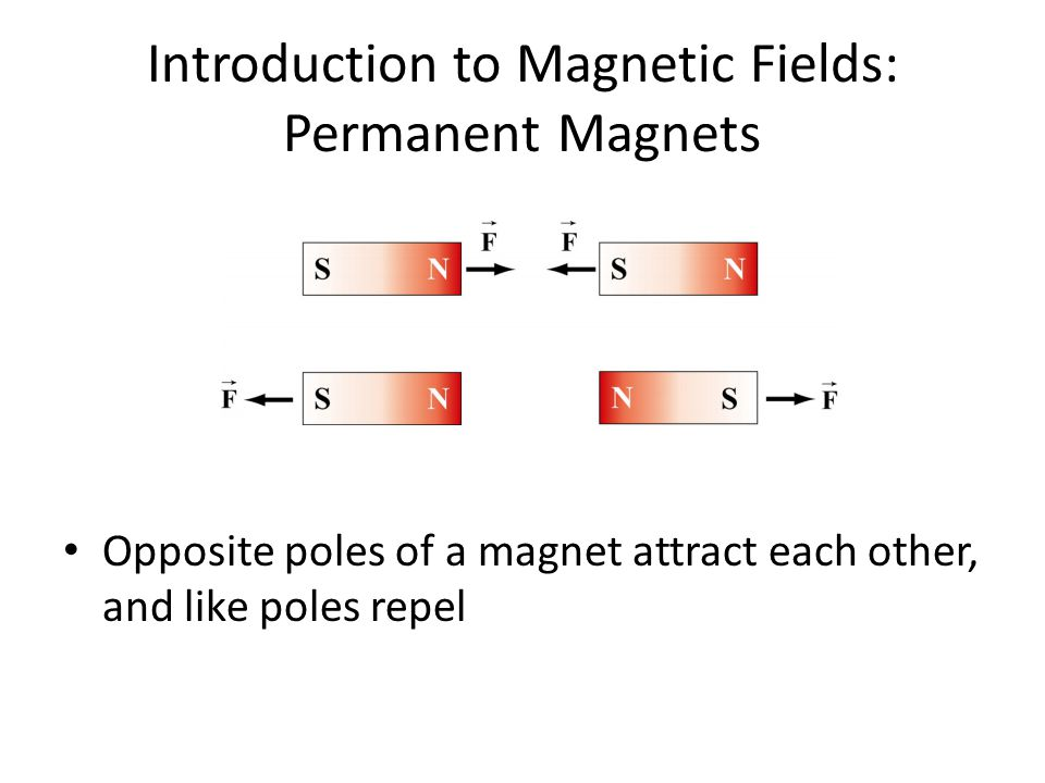 Introduction to Magnetic Fields: Permanent Magnets Opposite poles of a magnet attract each other, and like poles repel