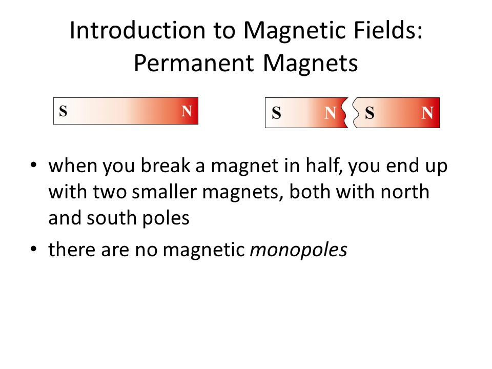 Introduction to Magnetic Fields: Permanent Magnets Magnetic Field of a Bar Magnet