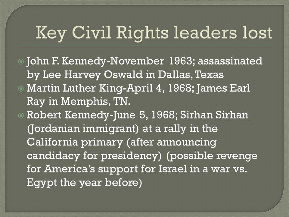 Key Civil Rights leaders lost  John F.