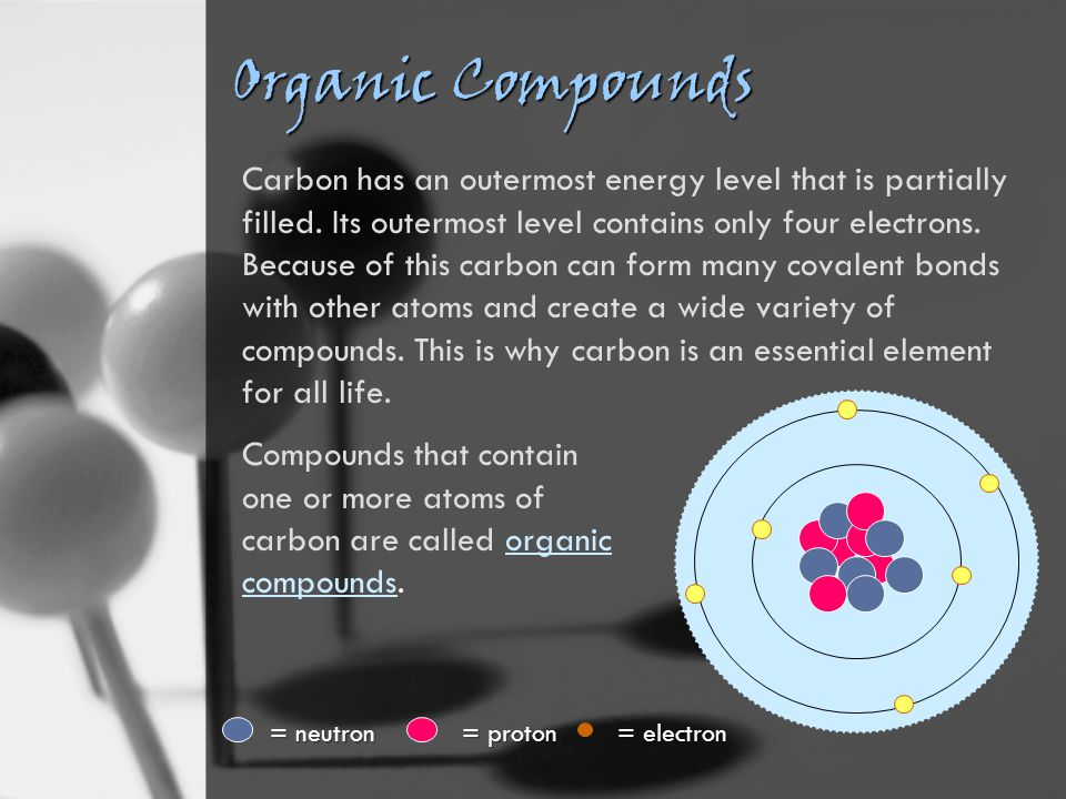 Organic Compounds Carbon has an outermost energy level that is partially filled.