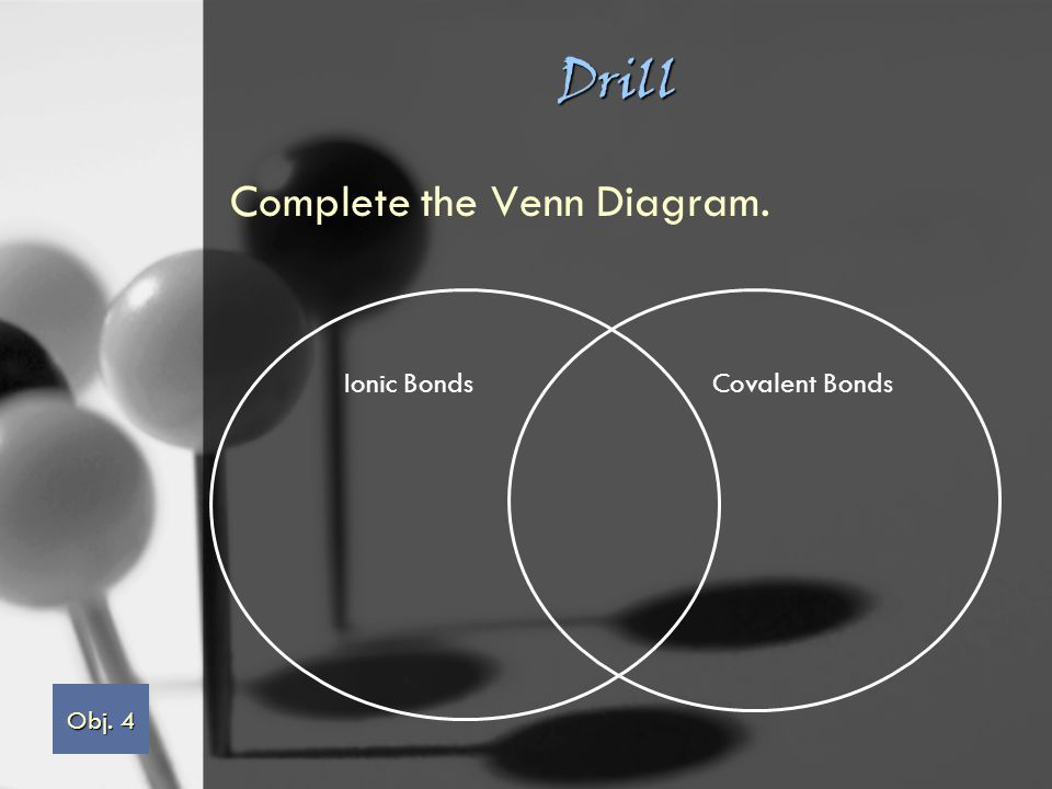 Drill Complete the Venn Diagram. Ionic BondsCovalent Bonds Obj. 4 Obj. 4