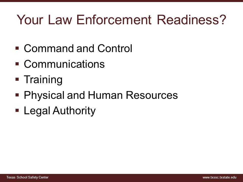 Texas School Safety Centerwww.txssc.txstate.edu Your Law Enforcement Readiness.