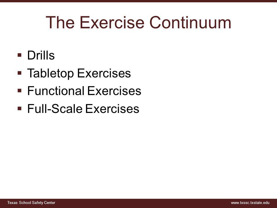 Texas School Safety Centerwww.txssc.txstate.edu The Exercise Continuum  Drills  Tabletop Exercises  Functional Exercises  Full-Scale Exercises