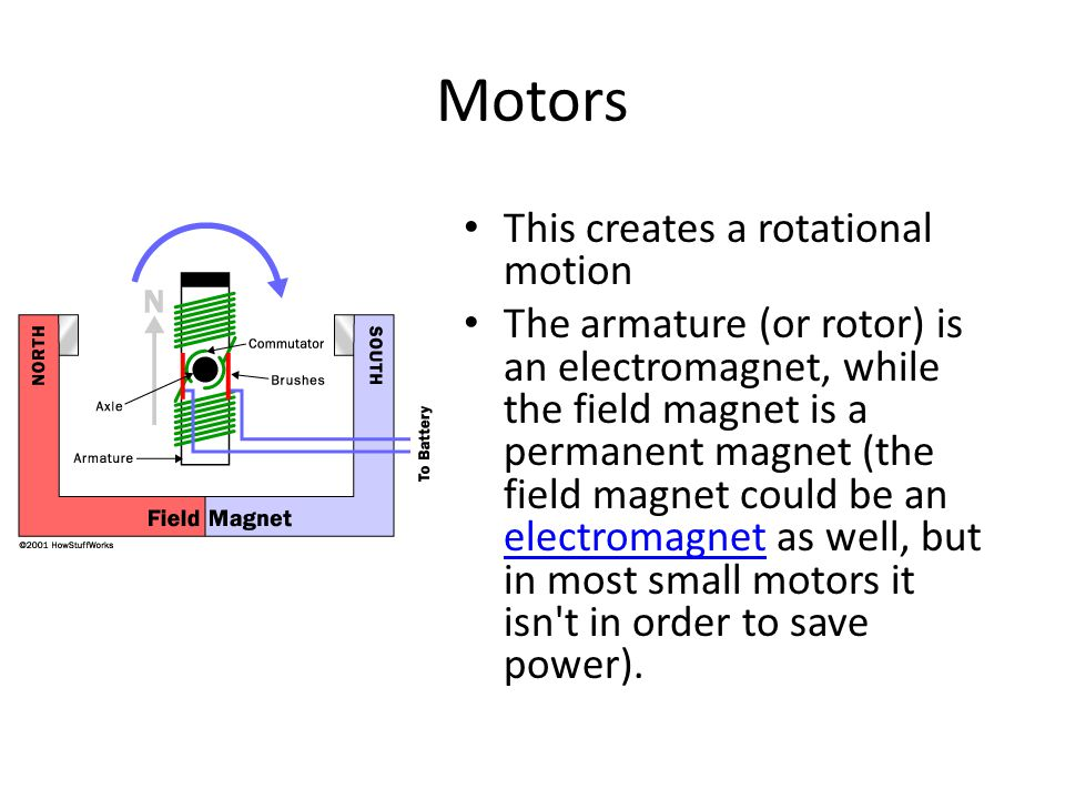Motors This creates a rotational motion The armature (or rotor) is an electromagnet, while the field magnet is a permanent magnet (the field magnet could be an electromagnet as well, but in most small motors it isn t in order to save power).