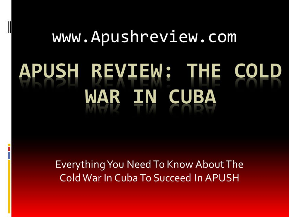 Background On Cuba  Pre-1959:  US businesses were active in Cuba (mines, farms, hotels, etc.)  January 1, 1959:  Castro took control of Cuba, Batista is overthrown  US relations with Castro were shaky; he becomes an ally with the Soviet Union  1961, US breaks relations with Cuba