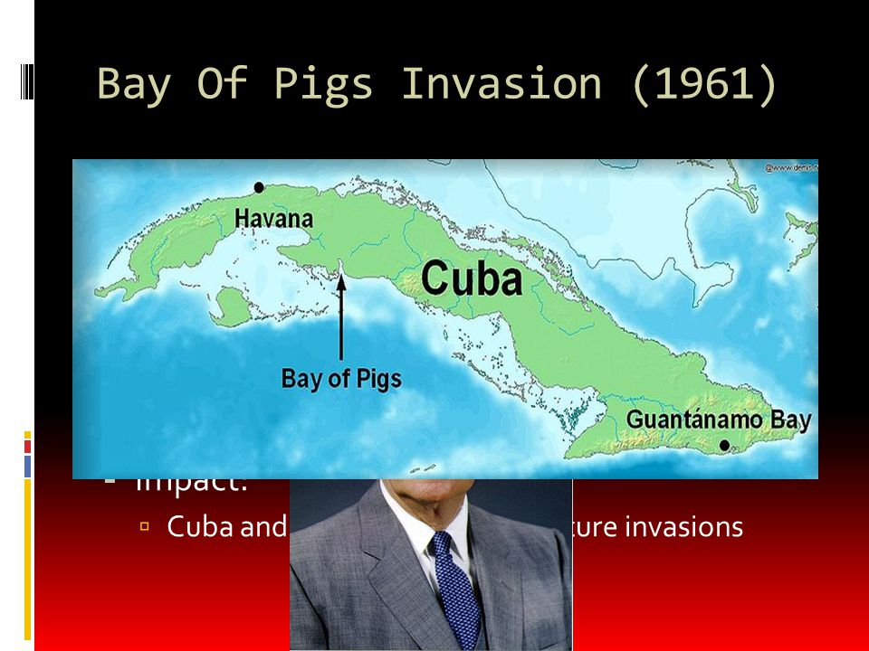 Cuban Missile Crisis (1962)  On October 14, US surveillance discover missiles with nuclear capabilities in Cuba  Could destroy most of the US  JFK quarantined Cuba  Would not allow other Soviet ships in  Preparing for war  Soviets had 42,000 troops in Cuba – could repel a US attack  Eventually, the Soviet Union withdrew missiles  US promised not to attack Cuba  US would withdraw missiles from Turkey  Impact.
