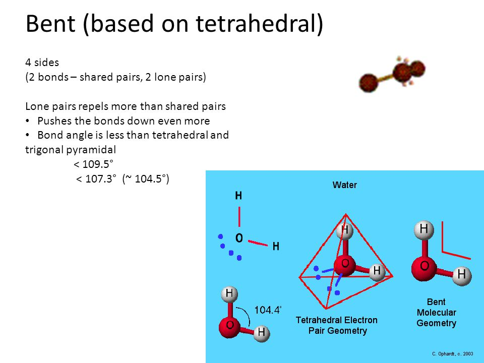 Bent (based on tetrahedral) 4 sides (2 bonds – shared pairs, 2 lone pairs) Lone pairs repels more than shared pairs Pushes the bonds down even more Bond angle is less than tetrahedral and trigonal pyramidal < 109.5° < 107.3° (~ 104.5°)