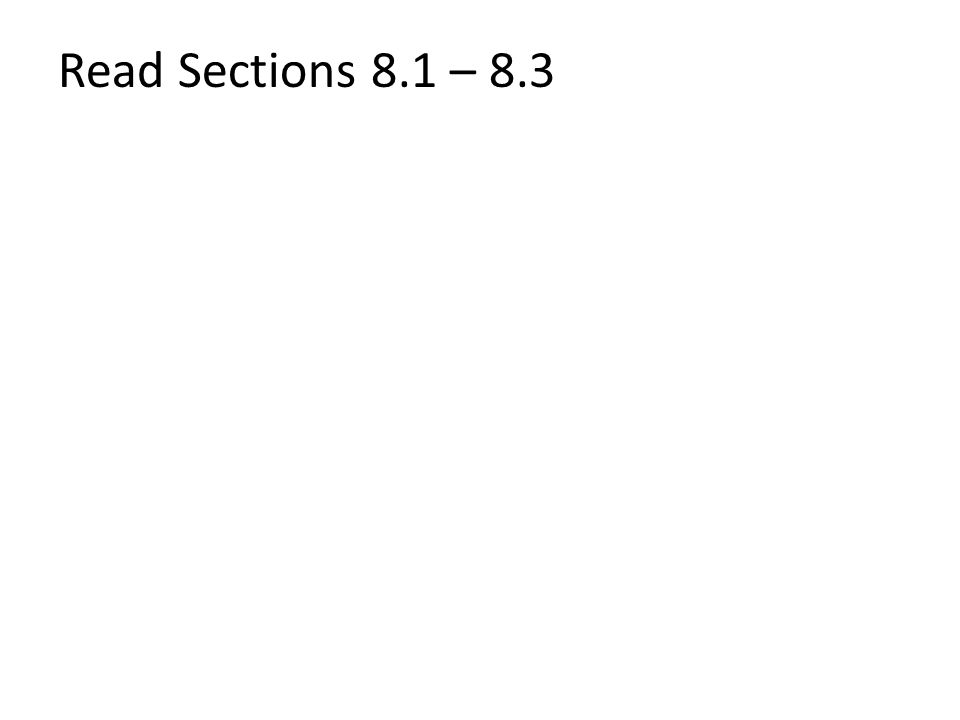 Read Sections 8.1 – 8.3