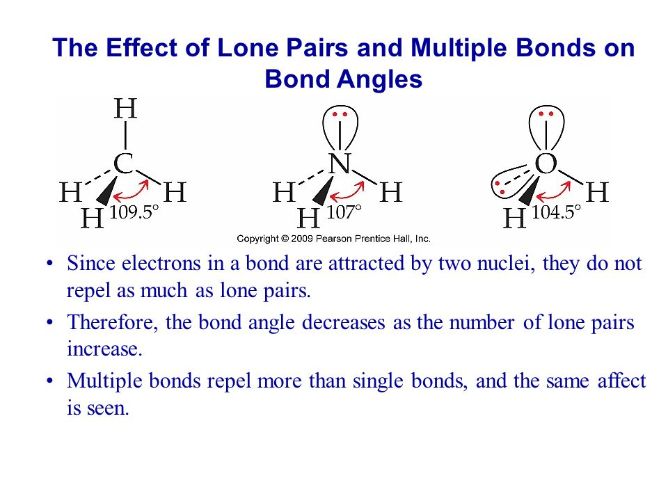The Effect of Lone Pairs and Multiple Bonds on Bond Angles Since electrons in a bond are attracted by two nuclei, they do not repel as much as lone pa