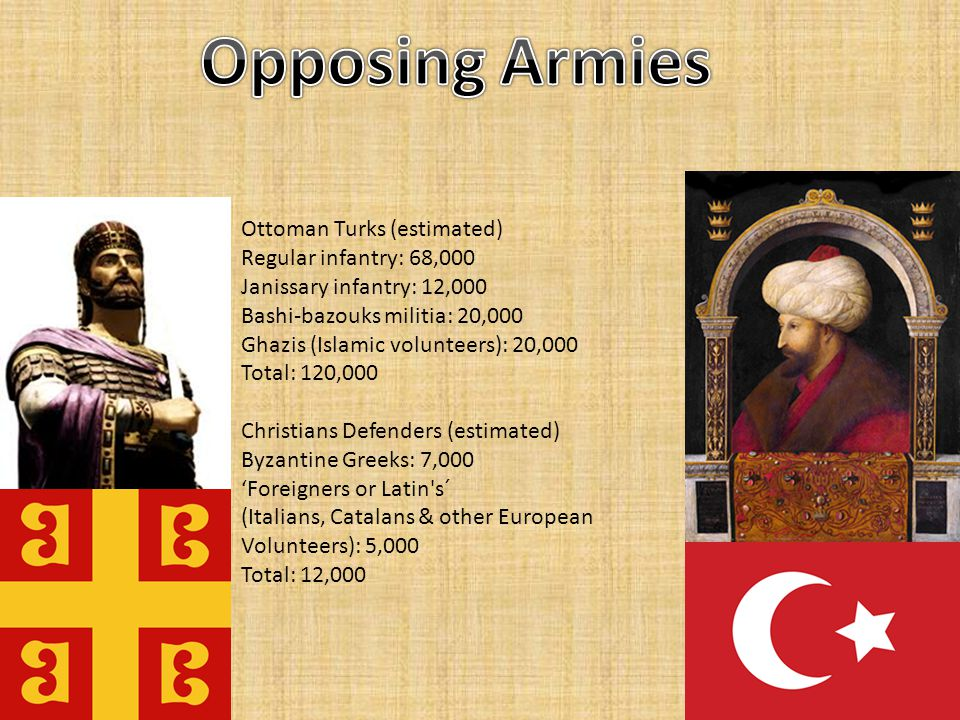 Ottoman Turks (estimated) Regular infantry: 68,000 Janissary infantry: 12,000 Bashi-bazouks militia: 20,000 Ghazis (Islamic volunteers): 20,000 Total: 120,000 Christians Defenders (estimated) Byzantine Greeks: 7,000 'Foreigners or Latin s´ (Italians, Catalans & other European Volunteers): 5,000 Total: 12,000