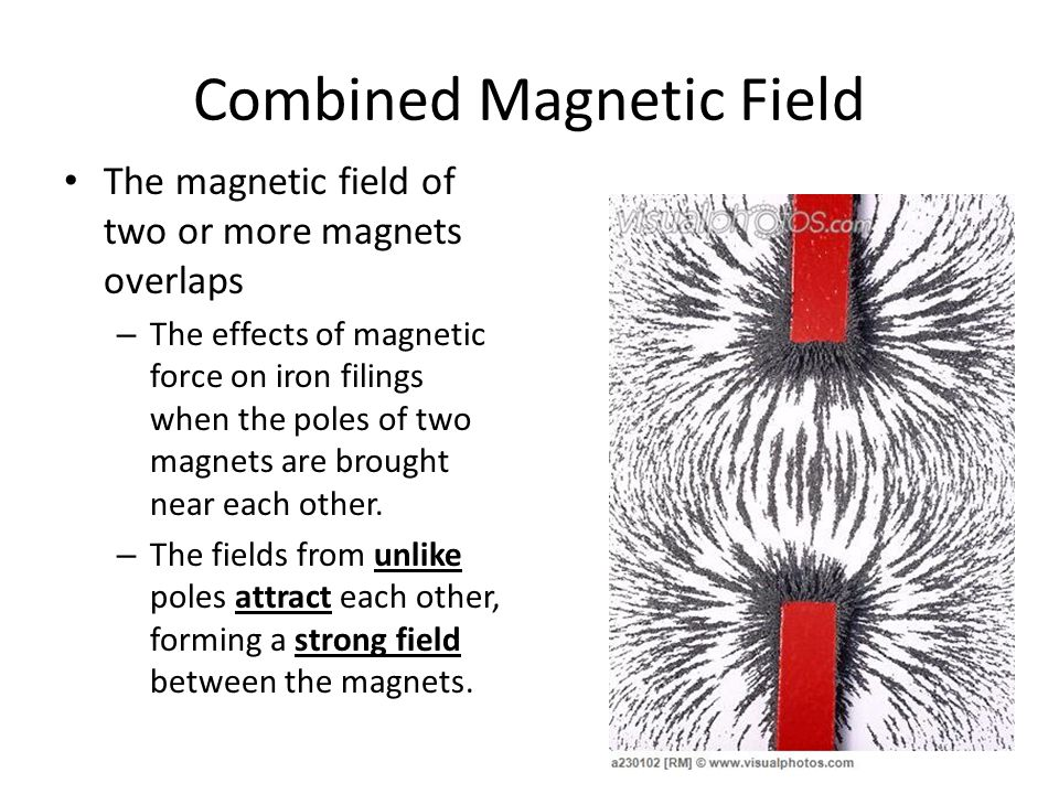 Combined Magnetic Field The magnetic field of two or more magnets overlaps – The effects of magnetic force on iron filings when the poles of two magnets are brought near each other.